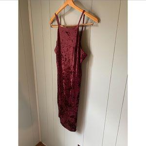 Wine colored crushed velvet midi dress